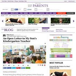 An Open Letter to My Son's Kindergarten Teacher
