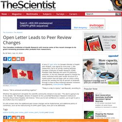 Open Letter Leads to Peer Review Changes