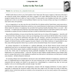 Letter to the New Left by C. Wright Mills 1960