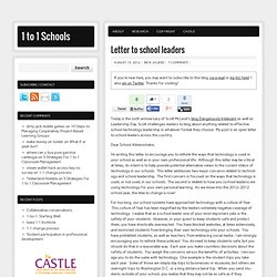 Letter to school leaders