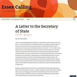 A Letter to the Secretary of State