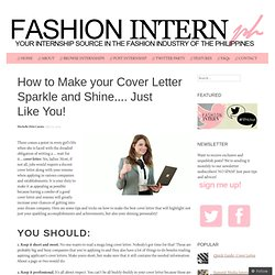 cover letter template fashion intern