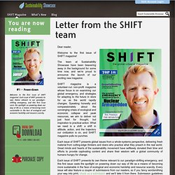 Letter from the SHIFT team - Sustainability Showcase