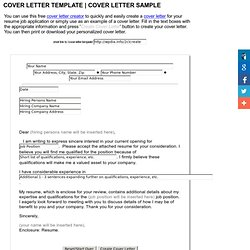 COVER LETTER TEMPLATE | COVER LETTER SAMPLE | WhatIsPedia