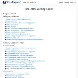 500 Letter-Writing Topics