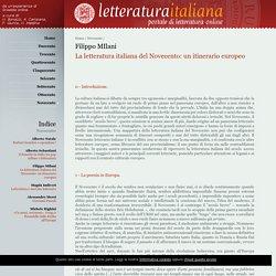 La letteratura italiana del Novecento: un itinerario europeo