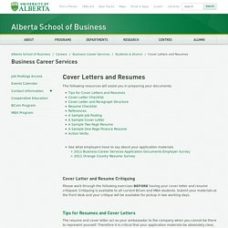 Cover Letters and Resumes - Alberta School of Business - University of Alberta