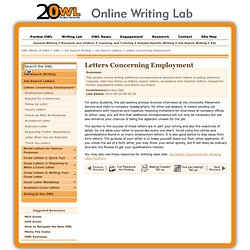 Letters Concerning Employment