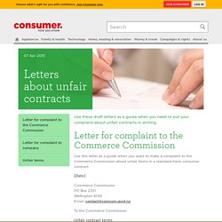 Letters about unfair contracts - Consumer NZ