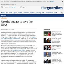 Letters: Use the budget to save the EMA