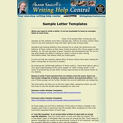 Sample letters... an example letter or template is a great thing