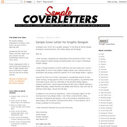 Sample Cover Letter for Graphic Designer