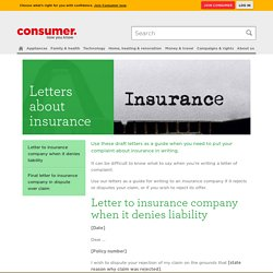 Letters about insurance - Consumer NZ