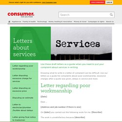Letters about services - Consumer NZ