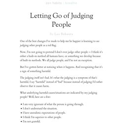 Letting Go of Judging People