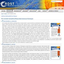 Lettre d'actualité du réseau Droit, Sciences & Techniques