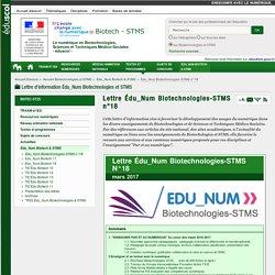 Lettre Édu_Num Biotechnologies-STMS n°18 — Biotechnologies et STMS