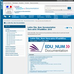 Lettre Édu_Num Documentation Hors-série #TraAMDoc 2018 — Documentation (CDI)