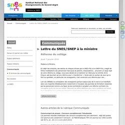 Lettre du SNES/SNEP à la ministre