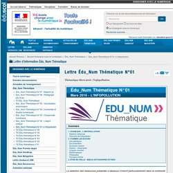 Lettre Edu_Num n°01 — Enseigner avec le numérique