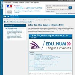 Lettre Édu_Num Langues vivantes N°26 — Langues vivantes