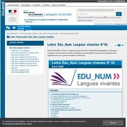 Lettre Édu_Num Langues vivantes N°33 — Langues vivantes