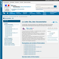 La Lettre Édu_Num Documentation — Documentation (CDI)