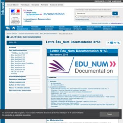 Lettre Édu_Num Documentation N°53 — Documentation (CDI)