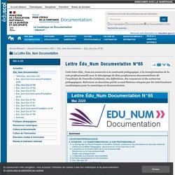 SNT - Lettre Édu_Num Documentation N°65