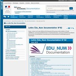 Lettre Édu_Num Documentation N°62 — Documentation (CDI)