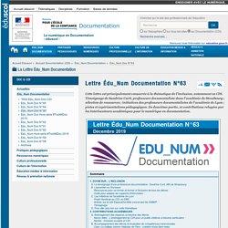 Lettre Édu_Num Documentation N°63 — Documentation (CDI)
