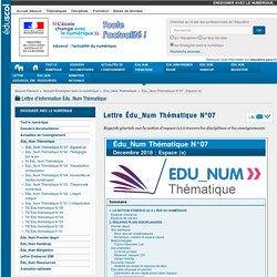 Lettre Édu_Num Thématique N°07 — Enseigner avec le numérique