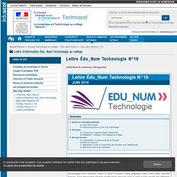 Lettre Édu_Num Technologie N°19 — Technologie au collège