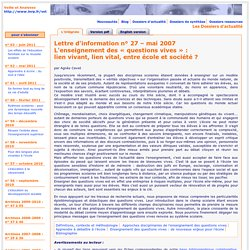 """Lettre VST – L'enseignement des """"questions vives"""" – mai 2007"""