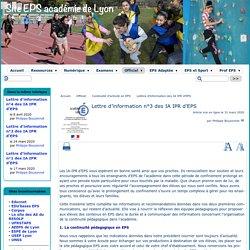Recommandations IPR d'EPS Lyon