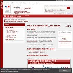 Lettre d'information Édu_Num Lettres — Lettres
