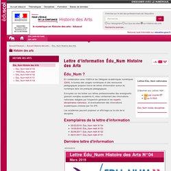Lettre d'information Édu_Num Histoire des Arts — Histoire des arts
