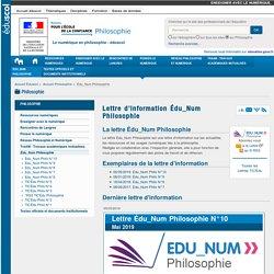 Lettre d'information Édu_Num Philosophie — Philosophie