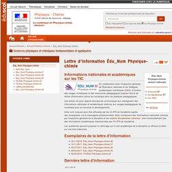 Lettre d'information Édu_Num Physique-chimie — Physique-Chimie