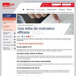 Une lettre de motivation efficace