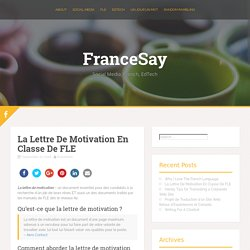 La Lettre De Motivation En Classe De FLE – FranceSay