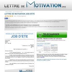 Lettre de motivation Job d'été