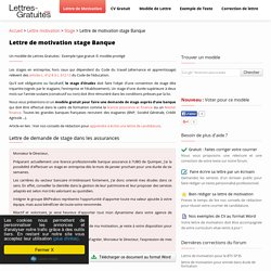 Lettre de motivation stage Banque