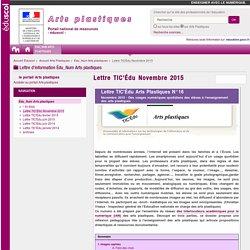 Lettre TIC'Édu Novembre 2015 — Arts Plastiques