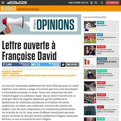Lettre ouverte à Françoise David