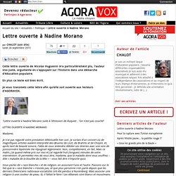 Lettre ouverte à Nadine Morano