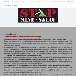 Lettre ouverte à Mme la Préfète de l'Ariège - STOP Mine Salau