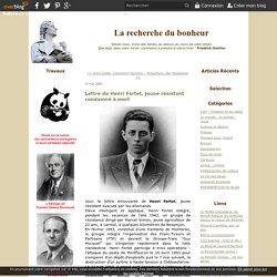 Lettre de Henri Fertet, jeune résistant condamné à mort