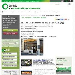 LETTRE DE SEPTEMBRE 2013 - SAVOIE (73)