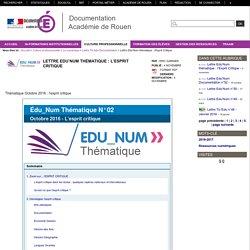 Lettre Edu'Num thématique : l'Esprit Critique